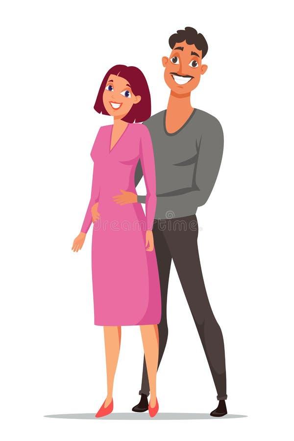 Illustrazione di colore felice di vettore del fumetto delle coppie illustrazione di stock