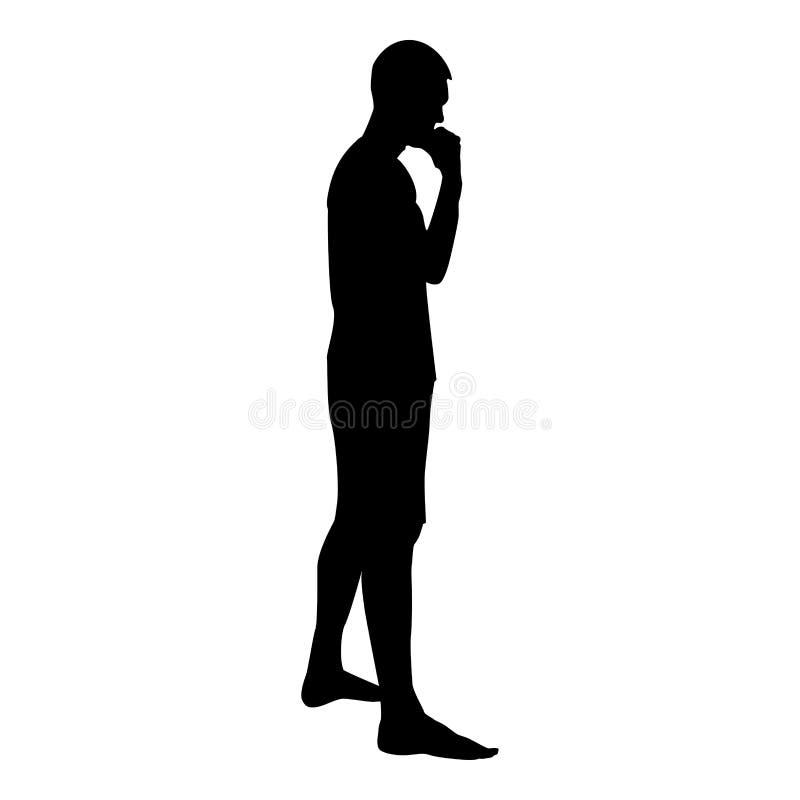 Illustrazione di colore nera di pensiero della persona della siluetta di condizione dell'uomo dell'icona pensierosa di vista late royalty illustrazione gratis