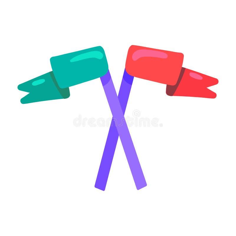 Illustrazione di colore piana attraversata delle bandiere illustrazione vettoriale
