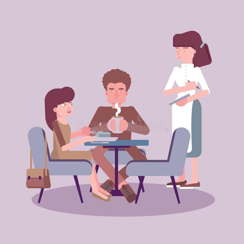 Illustrazione di colore piana della tavola del servizio della cameriera di bar royalty illustrazione gratis