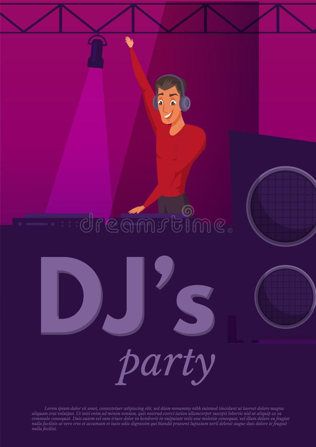 Illustrazione di colore piana di prestazione del night-club del DJ illustrazione vettoriale