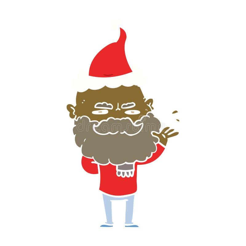 illustrazione di colore piana di un uomo distante con il cappello d'uso aggrottante le sopracciglia di Santa della barba royalty illustrazione gratis