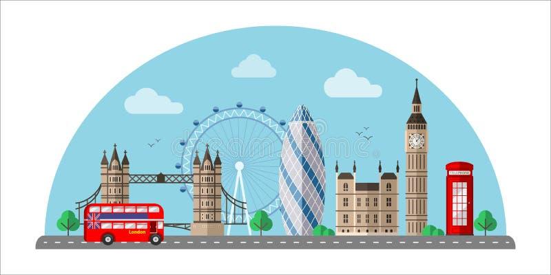 Illustrazione di colore piana di vettore di paesaggio urbano di Londra immagine stock