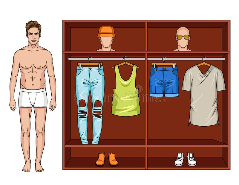 Illustrazione di colore di un guardaroba moderno maschio per l'estate illustrazione di stock