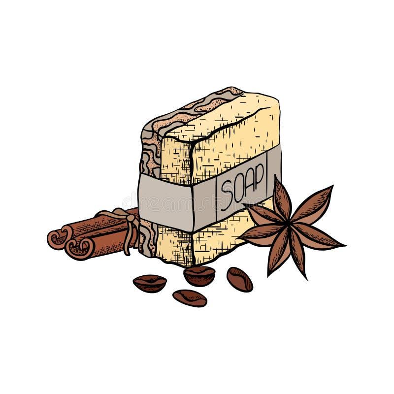 Illustrazione di colore di vettore di sapone fatto a mano con i bastoni di cannella, i chicchi di caffè e l'anice stellato Disegn royalty illustrazione gratis