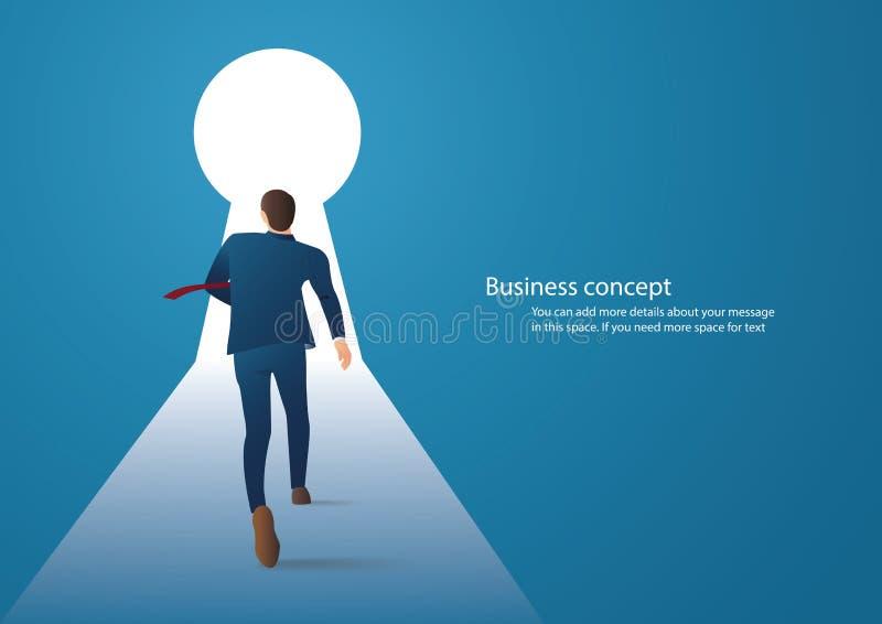Illustrazione di concetto di affari di un uomo d'affari che si imbatte in vettore del buco della serratura illustrazione di stock