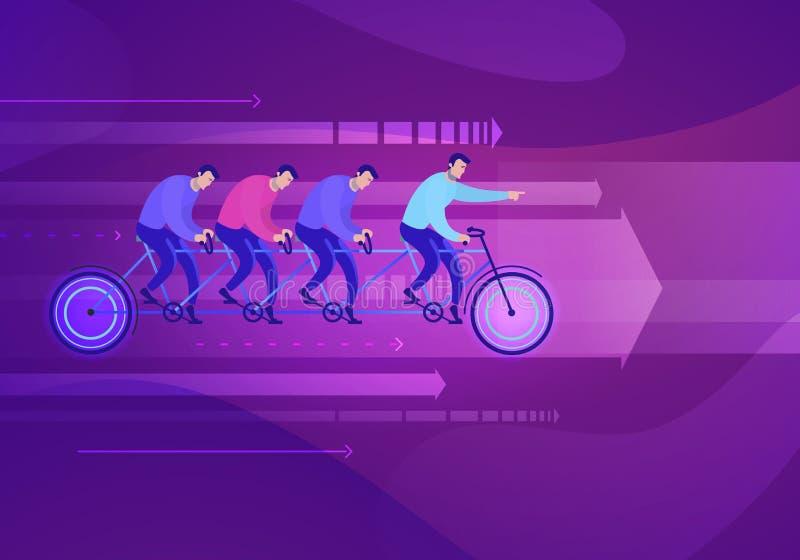 Illustrazione di concetto di affari di vettore del gruppo che si siede sul lavoro di squadra della bici royalty illustrazione gratis