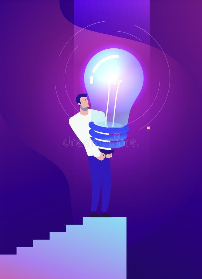 Illustrazione di concetto di affari di vettore dell'uomo forte e dell'idea creativa illustrazione vettoriale
