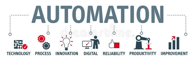 Illustrazione di concetto di automazione dell'insegna con le icone e la chiave illustrazione vettoriale