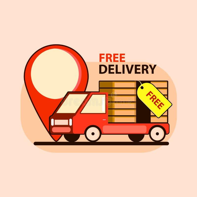 Illustrazione di concetto di consegna gratuita nello stile piano Automobile con grande punto Progettazione dell'illustrazione di  illustrazione di stock