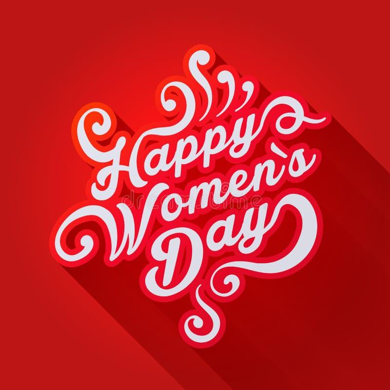 Illustrazione di concetto in cui è scritto il giorno felice del ` s delle donne illustrazione vettoriale