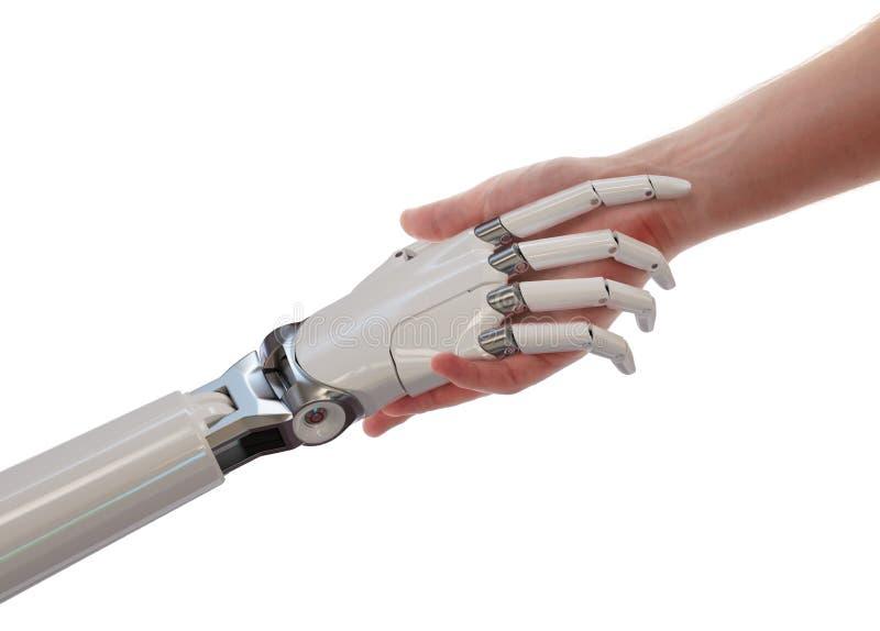 Illustrazione di concetto 3d di associazione di intelligenza artificiale della stretta di mano del robot e dell'essere umano royalty illustrazione gratis