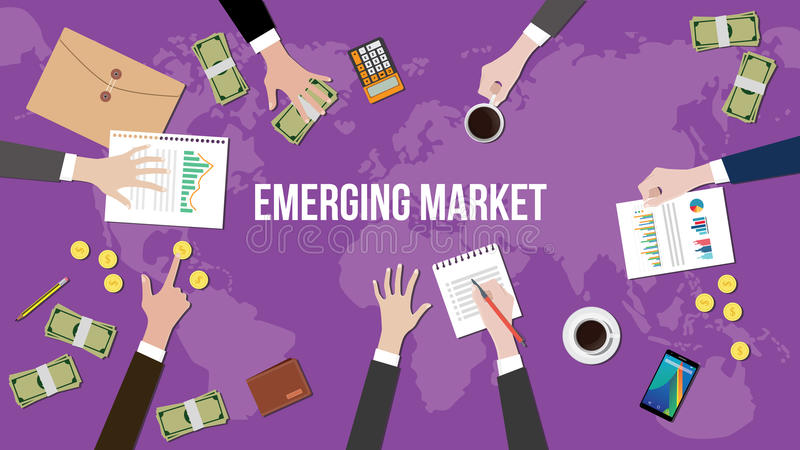 Illustrazione di concetto del mercato emergente con il gruppo che lavora insieme sopra la mappa di mondo royalty illustrazione gratis
