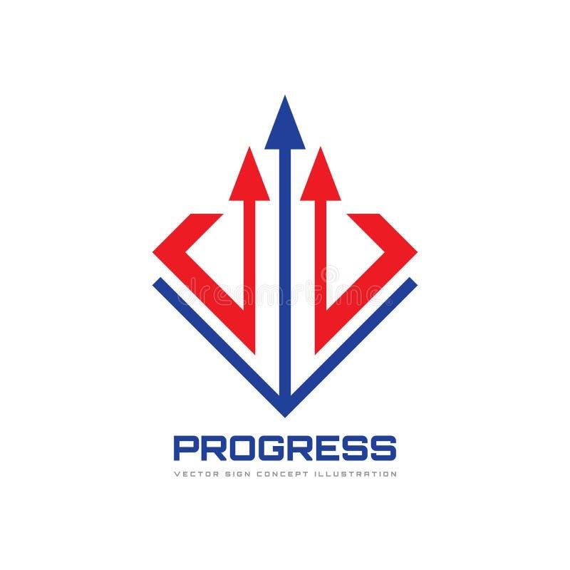 Illustrazione di concetto del modello di logo di vettore di affari Un segno creativo di tre frecce Icona di progresso Elemento di illustrazione vettoriale