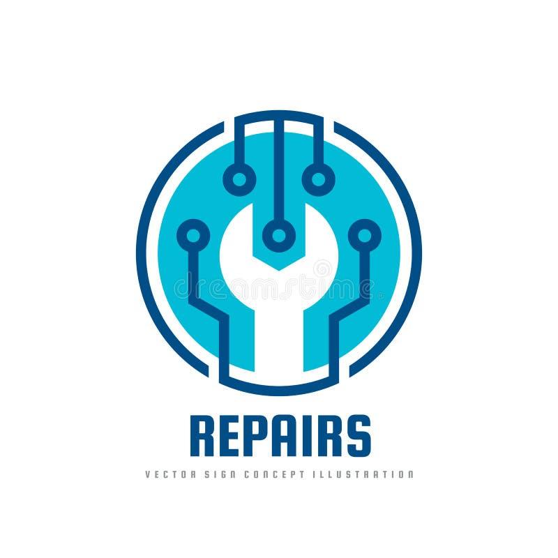 Illustrazione di concetto del modello di logo di vettore di servizio di riparazione Simbolo della chiave Segno elettronico di tec illustrazione di stock