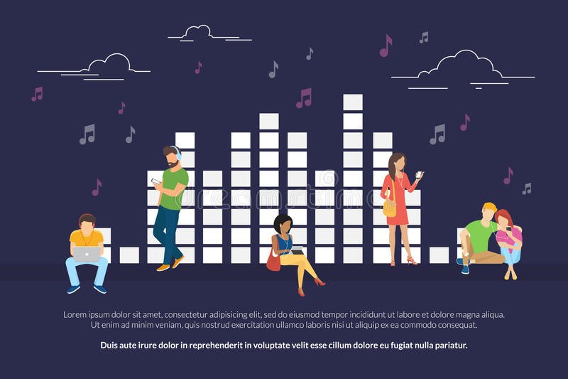 Illustrazione di concetto dell'equalizzatore di musica dei giovani e delle donne che ascoltano la musica e rilassarsi illustrazione di stock