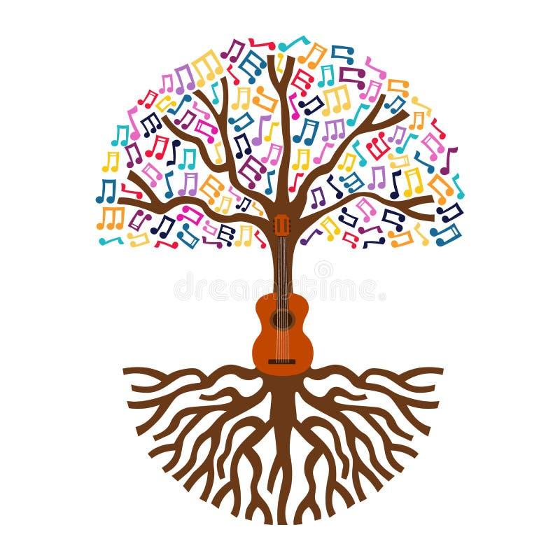 Illustrazione di concetto della natura di musica in diretta dell'albero della chitarra illustrazione di stock