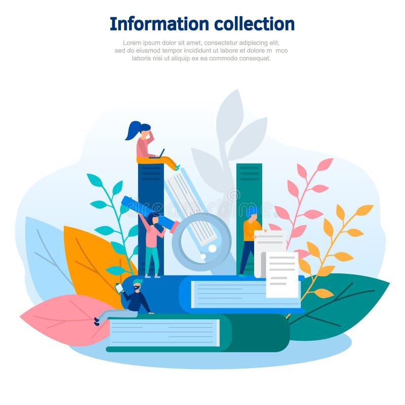 Illustrazione di concetto della raccolta di informazioni e di conoscenza, addestramento online, Internet che studia, libro online illustrazione di stock