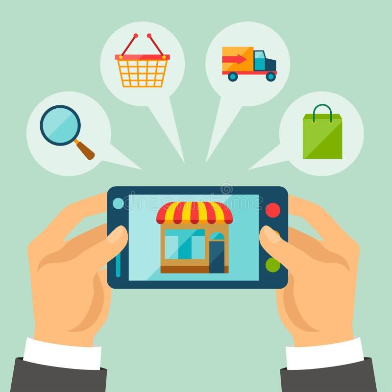 Illustrazione di concetto di acquisto di Internet illustrazione di stock