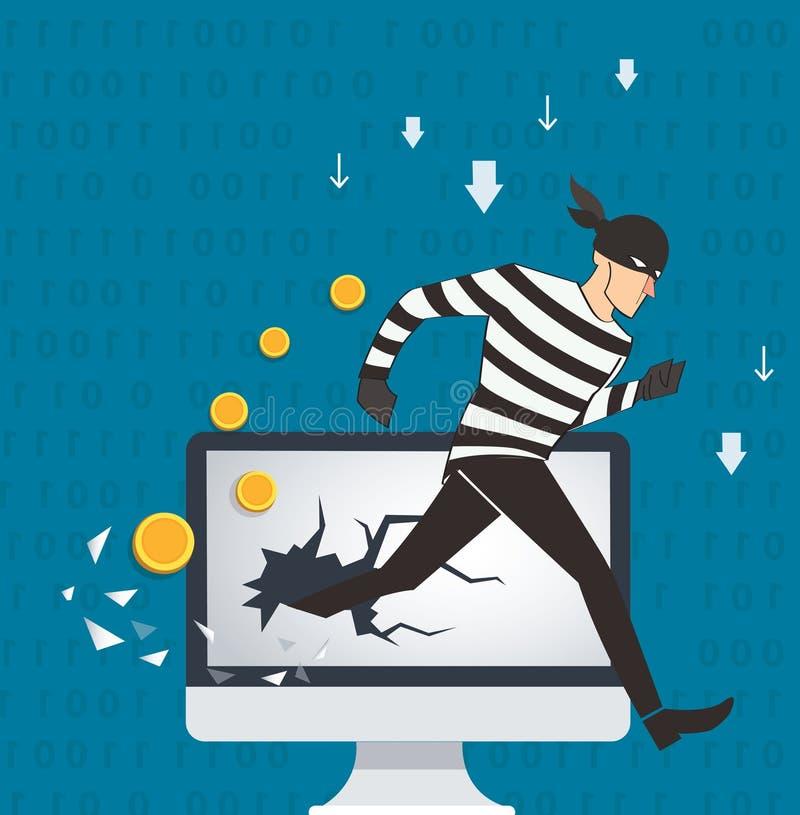 Illustrazione di concetto di affari dei dati binari del pirata informatico e dei termini di sicurezza della rete illustrazione vettoriale
