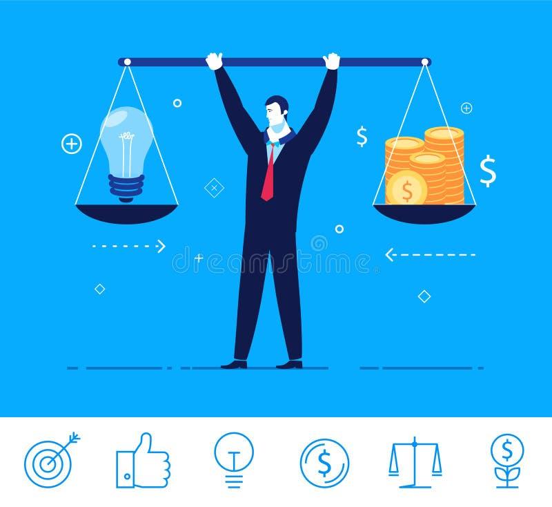 Illustrazione di concetto di affari di vettore uomo d'affari che tiene i pesi in sue mani illustrazione di stock