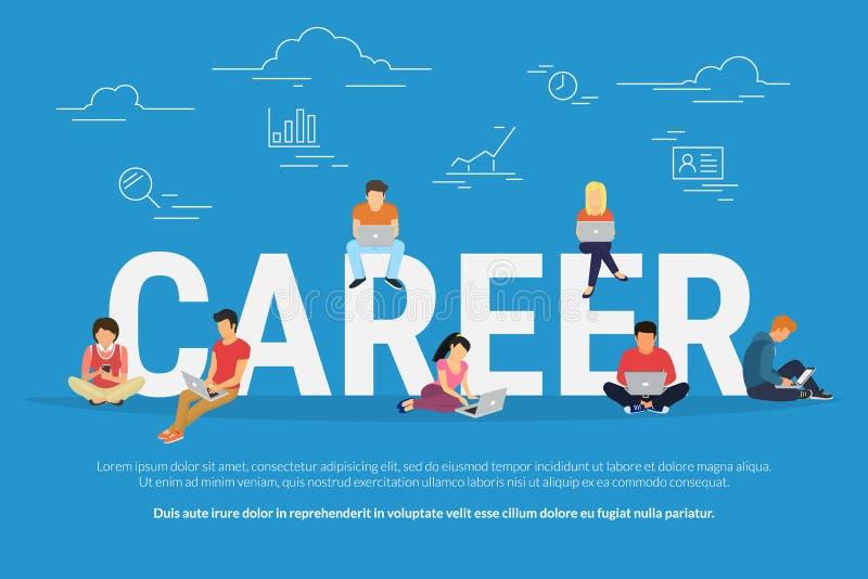 Illustrazione di concetto di carriera della gente di affari che per mezzo dei dispositivi per la ricerca di lavoro e la crescita  illustrazione di stock