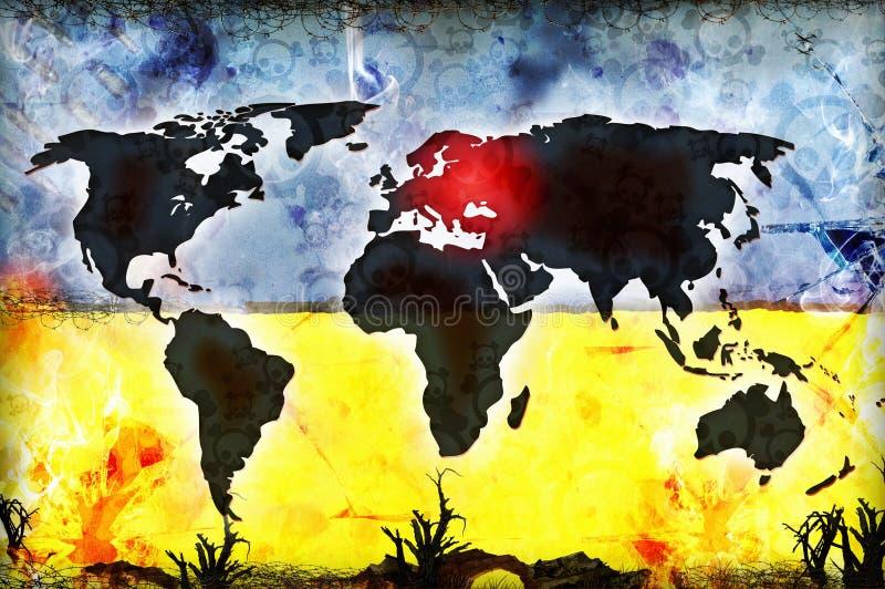 Illustrazione di concetto di conflitto dell'Ucraina Russia illustrazione vettoriale
