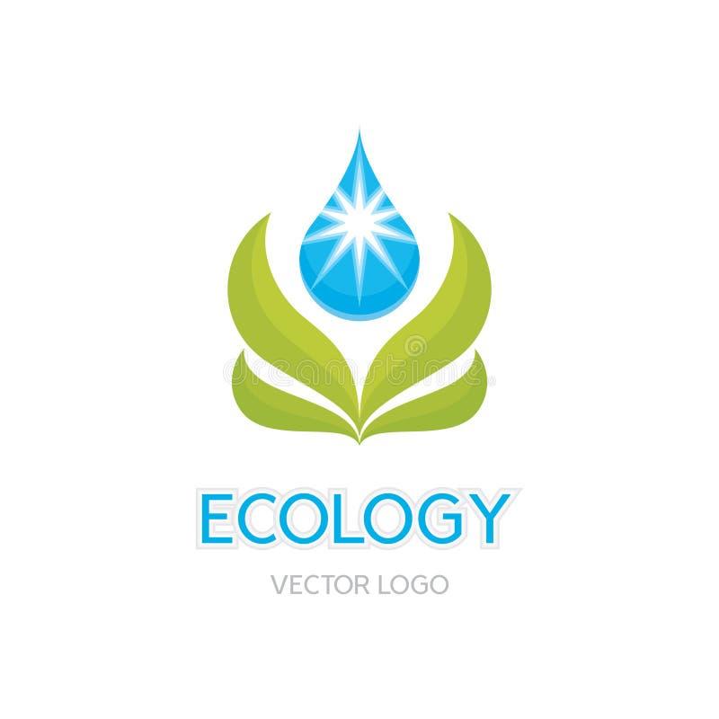 Illustrazione di concetto di ecologia - vettore astratto Logo Sign Template Foglie ed illustrazione di goccia Elemento di disegno illustrazione di stock