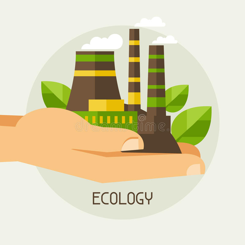 Illustrazione di concetto di protezione di ecologia illustrazione vettoriale