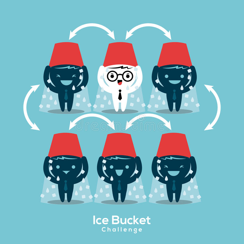 Illustrazione di concetto di sfida del secchiello del ghiaccio di Als illustrazione di stock