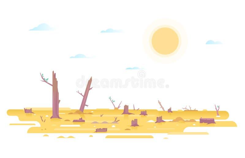 Illustrazione di concetto di disboscamento illustrazione di stock
