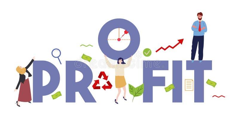 Illustrazione di concetto di finanza di profitto di redditività e di lavoro di squadra Del lavoro obiettivo degli impiegati di af illustrazione vettoriale