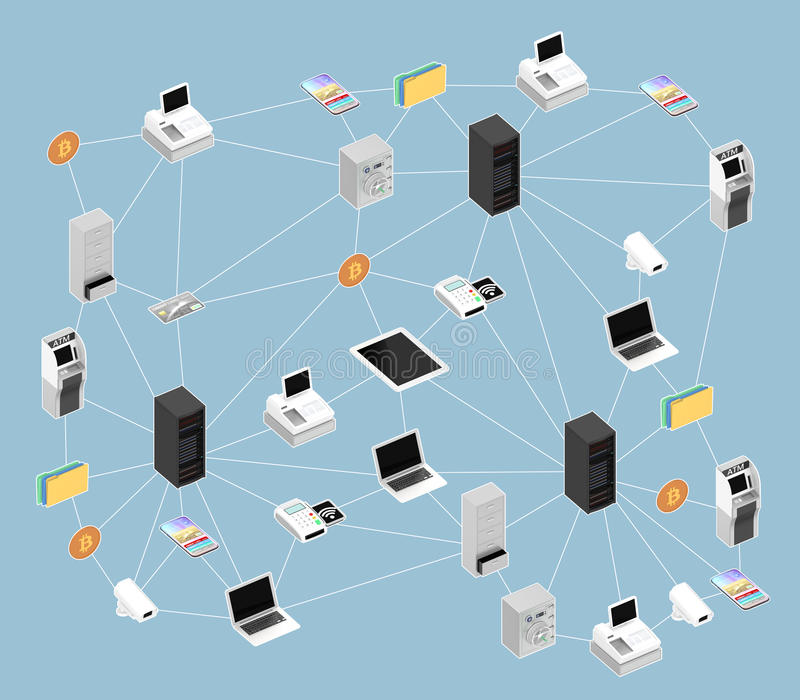 Illustrazione di concetto per la rete del blockchain royalty illustrazione gratis