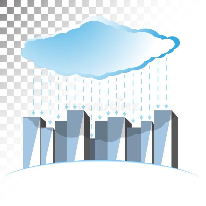 Illustrazione di concetto sul tema di stoccaggio della nuvola fotografie stock
