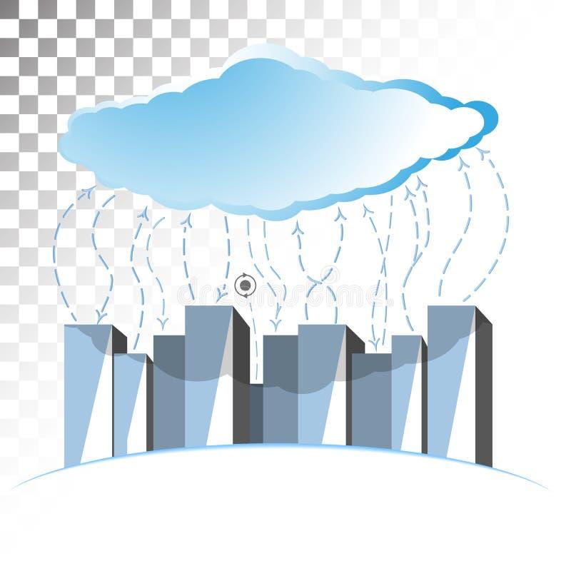 Illustrazione di concetto sul tema di stoccaggio della nuvola con le linee ondulate fotografia stock libera da diritti