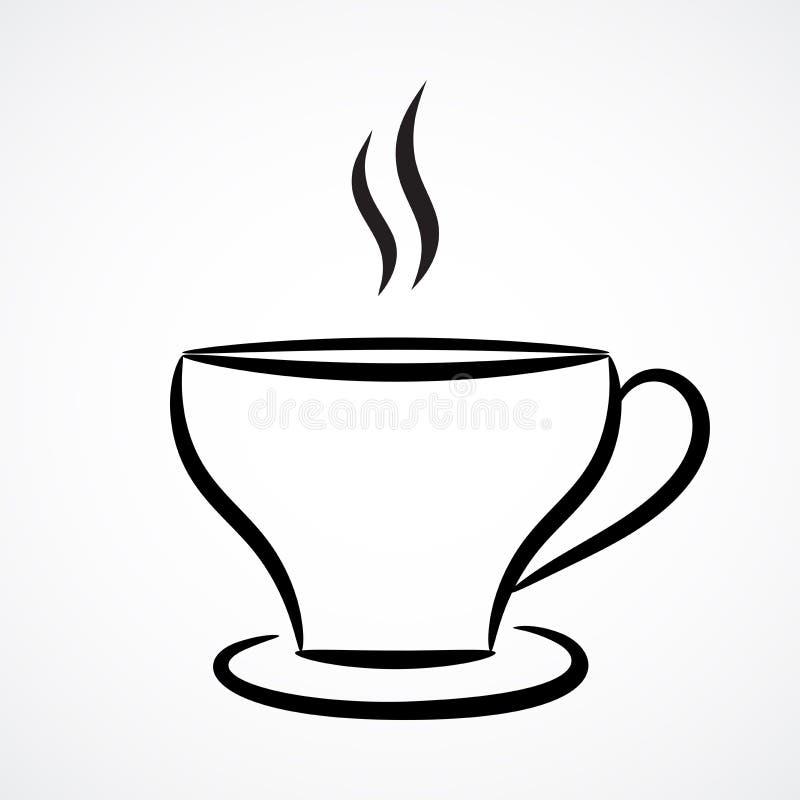 Illustrazione di contorno della tazza di tè Disegno di vettore illustrazione vettoriale