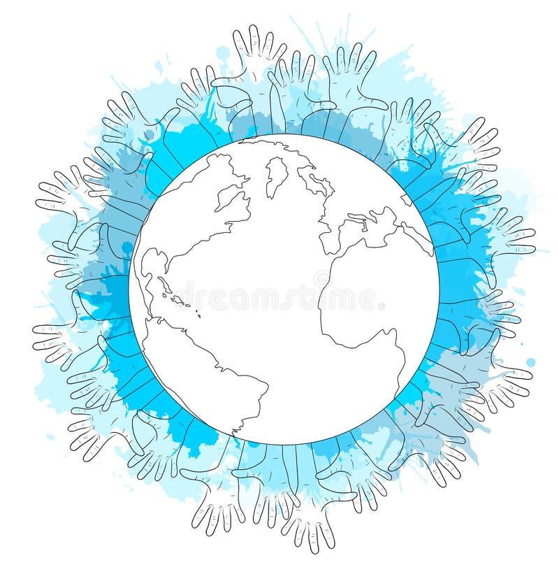 Illustrazione di contorno di pianeta Terra, mani umane illustrazione di stock