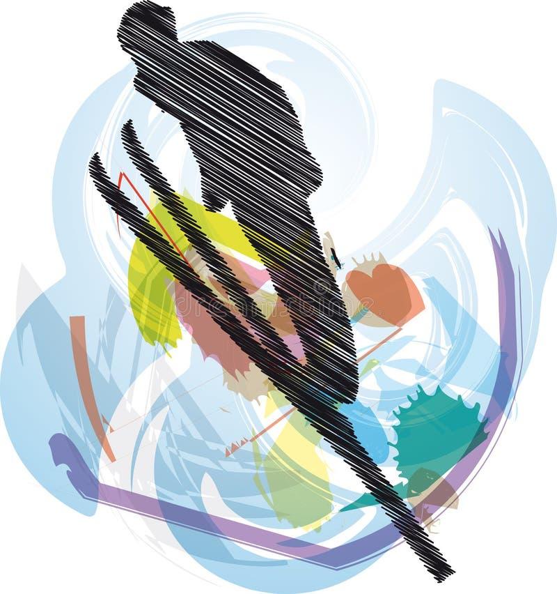 Illustrazione di corsa con gli sci. royalty illustrazione gratis
