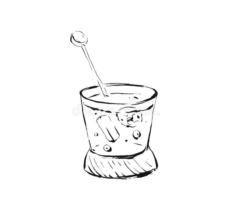 Illustrazione di cottura artistica di schizzo dell'inchiostro dell'estratto disegnato a mano di vettore della bevanda di scossa d illustrazione vettoriale