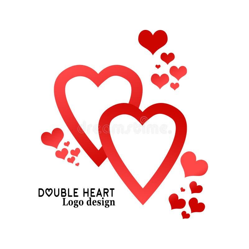 Illustrazione di cuore Stile piano di progettazione Modello di progettazione di logo, emblema, etichetta, distintivo, icona isola illustrazione vettoriale
