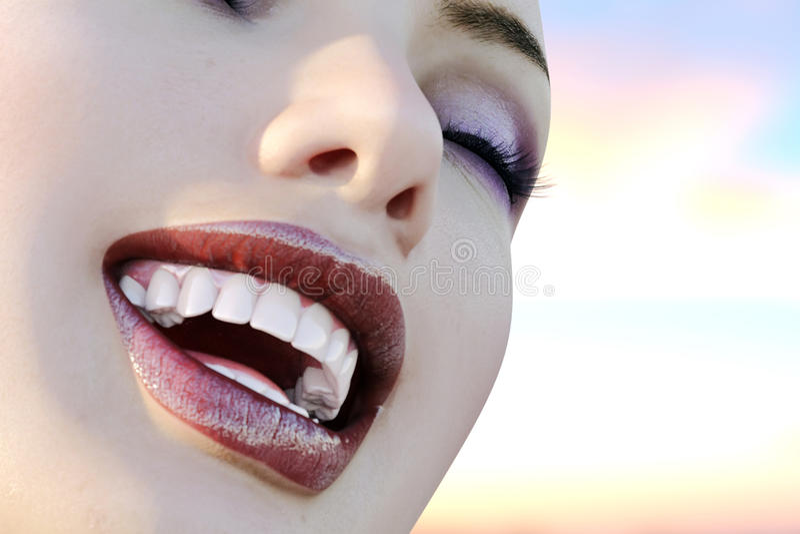 Illustrazione di cure odontoiatriche Denti perfetti Primo piano di bello e sorriso sano della donna 3d rendono illustrazione di stock