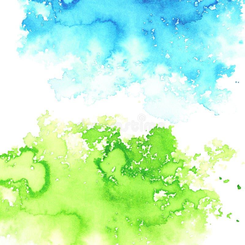 Illustrazione di diffusione acquosa verde e blu Paesaggio astratto illustrazione vettoriale