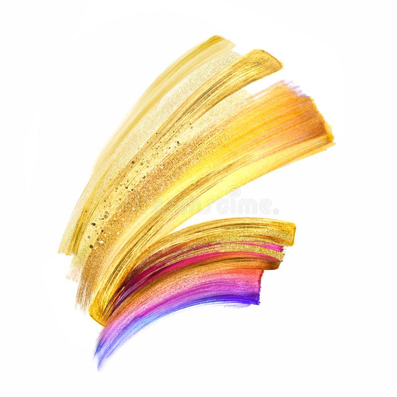 Illustrazione di Digital, clipart del colpo della spazzola dell'oro giallo isolata su fondo bianco, sbavatura dell'acquerello, pi illustrazione di stock