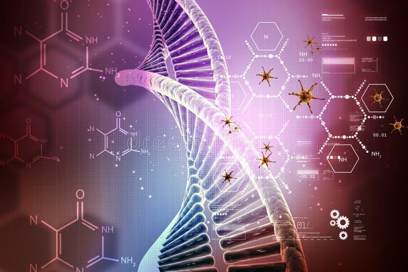 Illustrazione di Digital della struttura del DNA con il virus illustrazione vettoriale