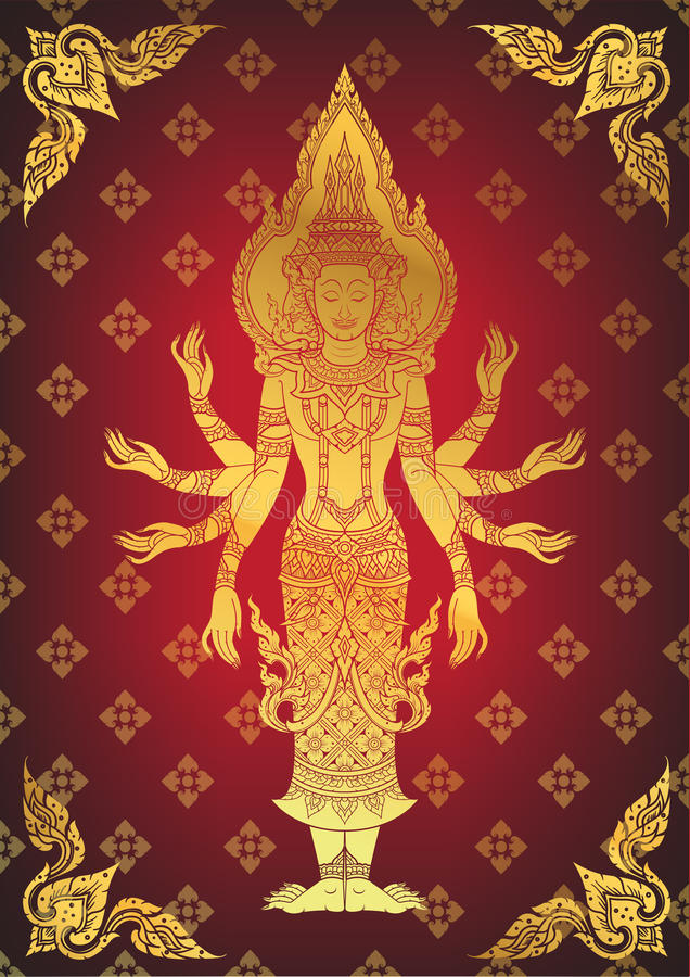 Illustrazione di Dio indù Brahma illustrazione vettoriale