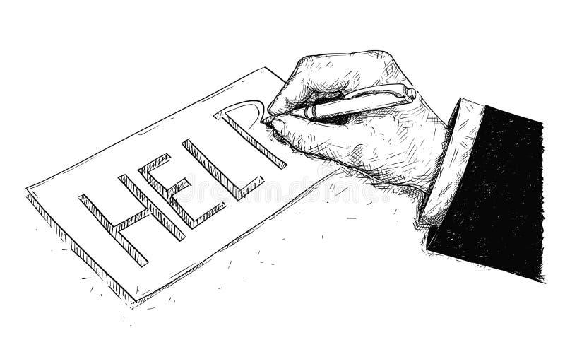 Illustrazione di disegno artistica di vettore della mano dell'uomo d'affari Writing Help su carta royalty illustrazione gratis