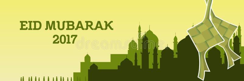 Illustrazione di Eid Mubarak con la moschea ed il tema e il ketupat di colore verde illustrazione di stock