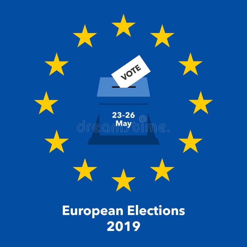 Illustrazione 2019 di elezioni europee con scheda di votazione nell'urna royalty illustrazione gratis