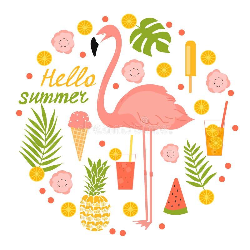 Illustrazione di estate con i fenicotteri, il gelato ed i fiori illustrazione vettoriale