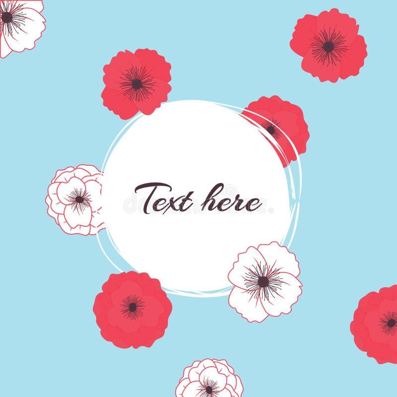 Illustrazione di estate di vettore con i fiori dei papaveri con il posto per testo su fondo blu royalty illustrazione gratis